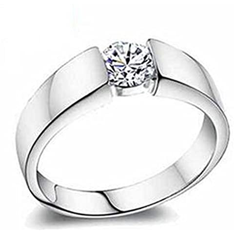 SaySure - 925 sterling silver ring white gold-plated ring (SIZE : 22)