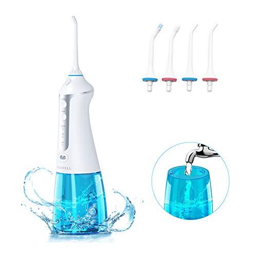 Irrigador Dental Portátil, TUREWELL Irrigador Bucal Profesional 3 Modo de Limpiar Inalámbrico Recargar...