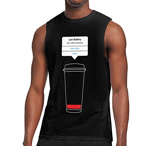 89842925c ShixiaoCC Low Battery Refill Coffee Mens Sleeveless Activewear Top Jersey