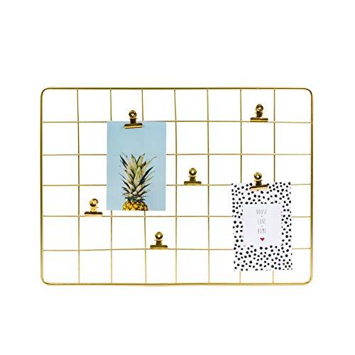 Dresz Metall Wandgitter, Hängender Fotorahmen, Wanddekoration Organizer, Gitter Panel, Einschließlich 2 Trendy Karten und 6 Clips, Gold, 43 x 33 cm