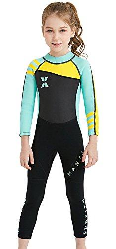 FMDD Kinder Einteiliger Neoprenanzug 2.5mm Mädchen Tauchanzüge langarm UV-Schutz Nassanzüge Tauchanzug Badeanzug für Wassersport (Grün, XL)