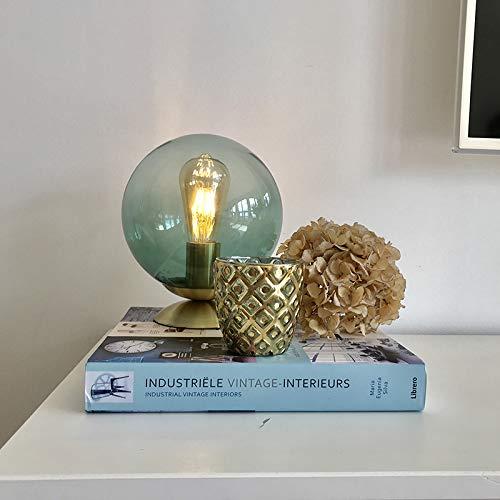 QAZQA Art Deco Lampe de Table/Lampe á poser/Luminaire/Lumiere/Éclairage Art deco laiton avec abat-jour en verre vert - Pallon/Acier Laiton,Vert Globe E27 Max. 1 x 25 Watt/intérieur/Salon