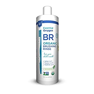 Essential Oxygen Organic Brushing Rinse Toothpaste Mouthwash for Whiter Teeth, Fresher Breath, and Healthier Gums, Peppermint by Brushing Rinse