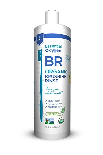 Preisvergleich Produktbild Essential Oxygen Organic Brushing Rinse Toothpaste Mouthwash for Whiter Teeth, Fresher Breath, and Healthier Gums, Peppermint by Brushing Rinse