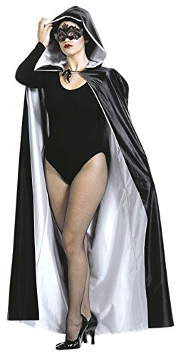Widmann 3587B, Halloween Wendeumhang - Umhang für Damen 140 cm mit Kapuze, schwarz/weiß