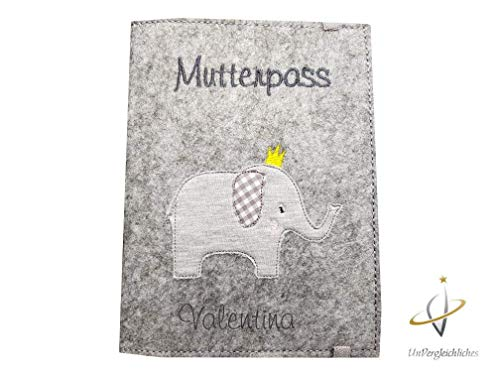 mutterpasshülle filz elefant gummiband personalisierbar