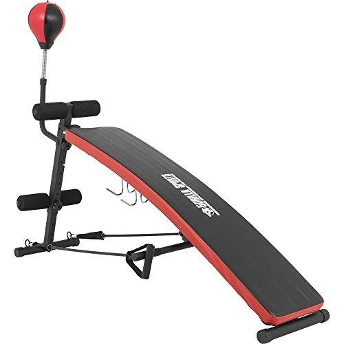 GORILLA SPORTS® Sit-Up Bank mit Punching-Ball und Schwarz/Rot- Bauchtrainer verstellbar und klappbar bis 200 kg belastbar