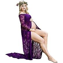 Cinnamou Accesorios de fotografía de Mujeres Embarazadas, Vestido de Maternidad Split Vista Delantera Foto Shoot