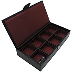8 Sectioned Studd Case Travel Cufflink Box -Handmade with Genuine European Leather -Premium Quality- by Cordays CDM-00004