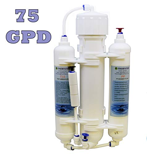 Finerfilters osmosi inversa acquario Compact Water Filter System 3Stage pesci tropicali, Discus, marine, disponibile con 50,75o 100Gpd membrane (75Gpd)