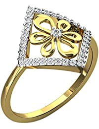 Silvernshine 0.29 Cts Round Cut Sim Diamond Flower Engagement Ring In 14KT White Gold PL