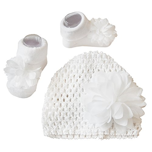 Baby Girls 2Piece set calzini con corrispondenza moda fiore uncinetto berretto in maglia bianco by Chloe Louise 0-12mesi