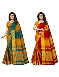 Indira Designer Cotton Saree with Blouse Piece (Pack of 2)
