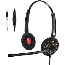 Arama Auricular de Teléfono Celular con Cancelación de Ruido Boom Mic y Ajustable Fit Headband para