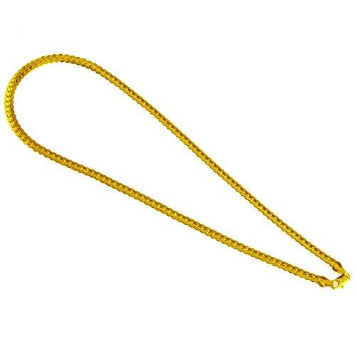 18k Goldkette Kette Edelstahl gold Halskette Panzerkette Herren 20 Zoll