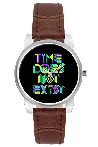 Women's Watch, BigOwl Time Does Not Exist Typography Designer Analog Wrist Watch For Women - Gifts for her dials