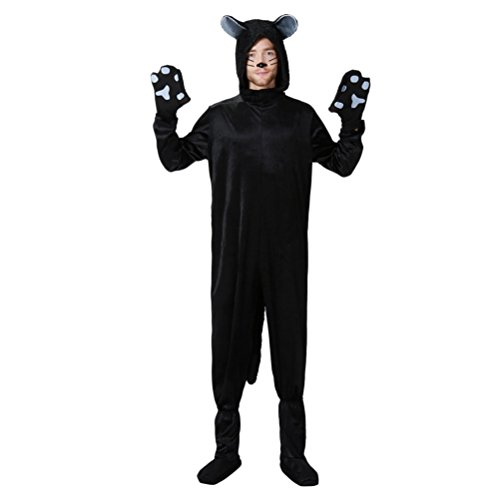Zhhlinyuan Stufe Kleid Mens Unisex Cosplay Halloween Costumes Black Cat Conjoined Stage Party Performance Hooded Robe Cloak (Cat Halloween Für Kleid)