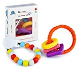 Baby Teething Ring Shapes Toy with Pacifier Clip, FDA Soothing Food Grade Silicone