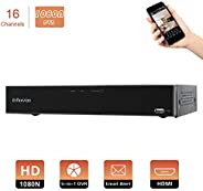 Evtevision 16CH 1080N AHD TVI CVI DVR Video Recorder H.265 CCTV HVR Onvif NVR,P2P Cloud,Smartphone Remote View,Motion Detect