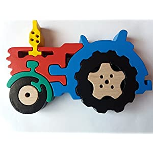 Holz Puzzle spiel traktor handgemachtes Landwirtschaftsmaschinen massives Buchenholz spielzeug fahrzeuggeschenk für…