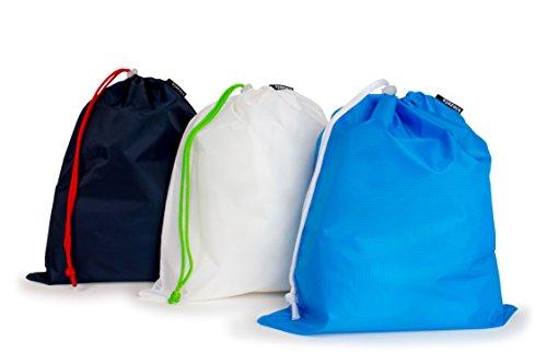 Set di 3 sacchetti leggeri con chiusura a cordoncino - 3 x Large - blu notte, bianco, cielo blu
