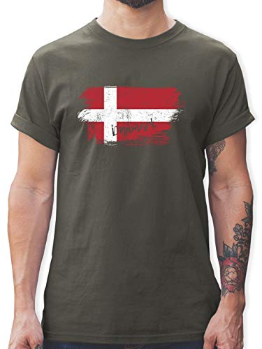 Handball WM 2019 - Dänemark Vintage - XL - Dunkelgrau - L190 - Herren T-Shirt und Männer Tshirt