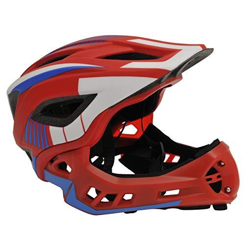 Kiddimoto 2-in-1 Fahrradhelm für Kinder, Jungen und Erwachsene MTB, BMX, Dirtbike, Skateboard mit abnehmbarer Kinnschutz, Rot/Blau medium