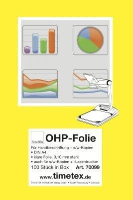 TimeTex OHP-Folie Overheadfolie DIN A4 - klare Folie 0,10 mm stark - für Handbeschriftung und schwarz/weiß-Kopien - Laserdrucker - TimeTex 70099