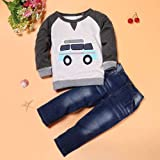Clode® for 2-7 Years Old Boys, 1Set Toddler Boys Outfit Clothes Car Print T-Shirt Tops+Long Jeans Trousers