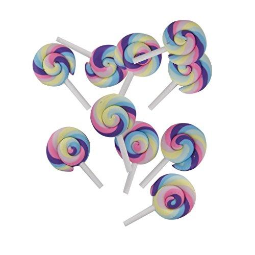 Preisvergleich Produktbild 10x Bunte Lutscher Bonbons Polymer Clay Verschönerung Cabochon DIY Fertigkeit