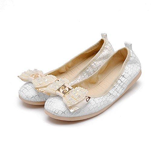AllhqFashion Femme Matière Souple Tire Rond Non Talon Couleur Unie Chaussures à Plat Blanc