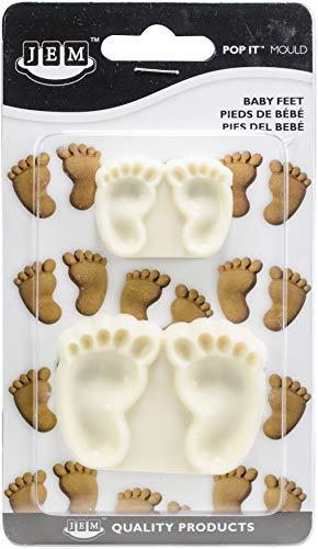 PME 1102EP002 JEM Pop It-Motivform Babyfüße zum Dekorieren von Torten, Sortiment 2 kleine Größen, Kunststoff, Ivory, 6 x 2 x 4.5 cm - Silikonform Füße