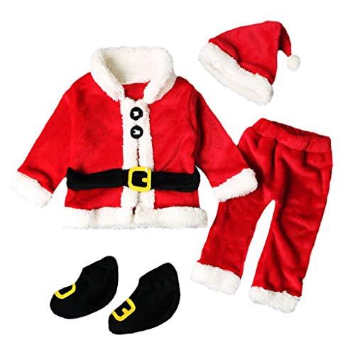QUICKLYLY 4PCS Conjunto de Navidad para Bebé Niña Niño Santa Tops+Pantalones + Sombrero + Medias Ropa (6~12 Meses(80))
