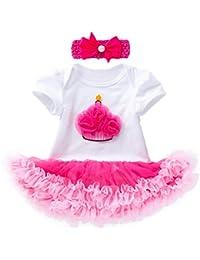 Kword Set 3 Pezzi di Vestiti per Bambina A Maniche Corte Vestito con  Paillette da Principessa per Neonato Tutu… 5c0482064f3