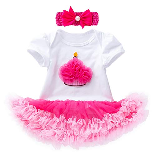 bobo4818 Prinzessin Kleinkind Baby Mädchen Kleidung Cartoon Print Kleid Weihnachten Kleid Mädchen Herbst Winter for 6M-4 Jahre (0-3 Months, Rosa)