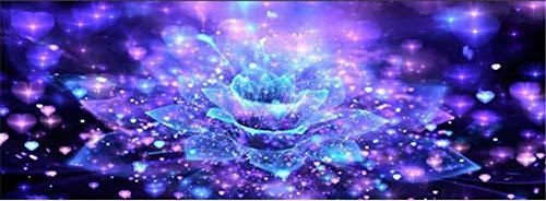 Yukangi Papier peint non tissé 3D Motif fleurs bleues, 8D crystal engraving three-dimensional mural, 1m x1m