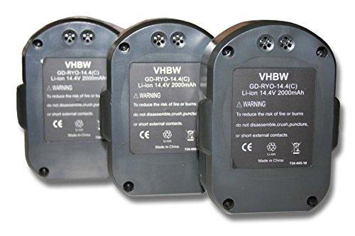 Preisvergleich Produktbild vhbw 3x Li-Ion Akku 2000mAh (14.4V) für Werkzeuge Ryobi LLCD14022, LLCD 14022 wie Ryobi BPL1414.