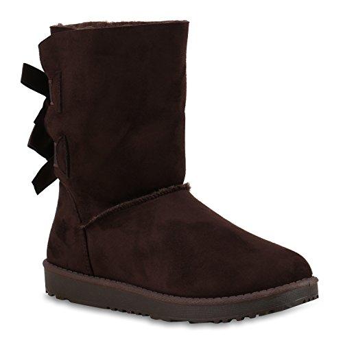 Warm Gefütterte Damen Stiefeletten Schlupfstiefel Boots Schleifen Dunkelbraun Schleife