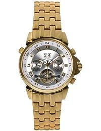 André Belfort 410135 - Reloj analógico de caballero automático con correa de acero inoxidable dorada - sumergible a 50 metros