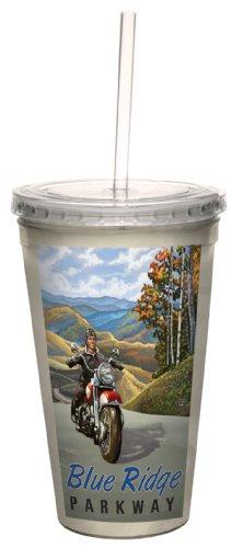 Tree-Free Greetings cc33331 Scenic Blue Ridge Mountains Motorrad Road Trip von Paul A. Lanquist Artful Traveler Doppelwandiger Cool Becher mit Strohhalm, 473 ml Tumbler Ridge