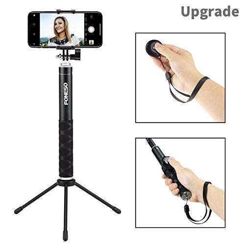 Foneso Bluetooth Selfie Stick mit Stativ für Smartphone, Kamera Schwarz - 3