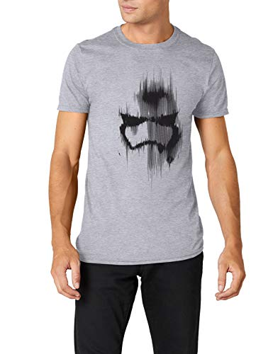 (Star Wars Herren Trooper Mask T-Shirt, (Grey Marl), L)