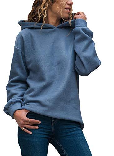Ajpguot Kapuzenpullover Damen Langarm Kapuzenpullis Einfarbig Hoodie Pullover Plüsch Sweatshirt Pulli Herbst Winter