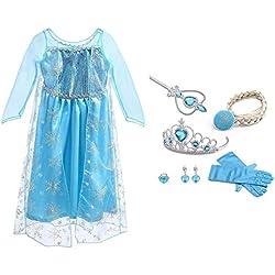 URAQT Vestido de Princesa Elsa, Reina Frozen Disfraz Elsa Vestido Infantil Niñas Costume Azul Cosplay de Disney Disfraz de Halloween, Cumpleaños, Carnaval y la Fiesta (140) Azul