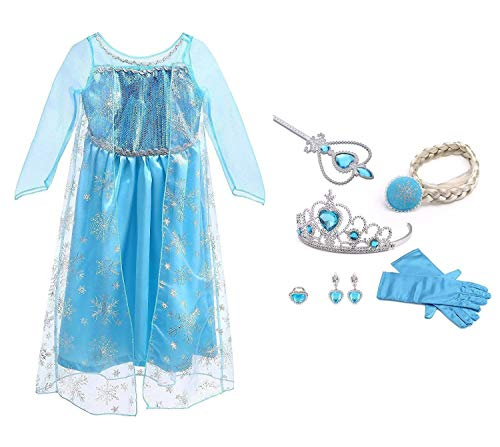 URAQT Mädchen Prinzessin ELSA Kleid Kostüm Eisprinzessin Set aus Diadem, Handschuhe, Zauberstab (Zusammen Kostüm)