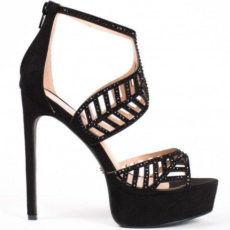 Ideal Shoes - Escarpins à brides ajourées et strassées Fabiola Noir