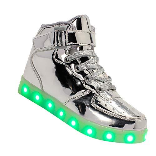 Yudesun Enfants Unisexes Luminous Baskets - Clignotant LED Lumière USB Charge Entraîneurs Cuir Respirant Bambin Garçons Filles Sports en Plein Air Chaussures