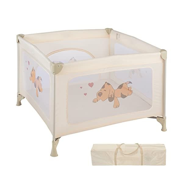 TecTake Portable Child Baby Infant Playpen Travel Cot Bed Crawl Play Area new beige TecTake Only the best for my baby: Our high-quality manufactured baby playpen is excellently suited to play, crawl around and to sleep. // Total dimensions: (LxWxH): 105 x 105 x 78 cm. As it is especially space-savingly collapsible, you won't only use it at home but also when travelling. // Dimensions collapsed (LxWxH): approx. 94 x 20 x 20 cm. The side elements are furnished with breathable mesh-textures, so that you can always keep an eye on your little darling. In addition, the playpen has a padded sleep mat and thus serves as a small travel cot. 1