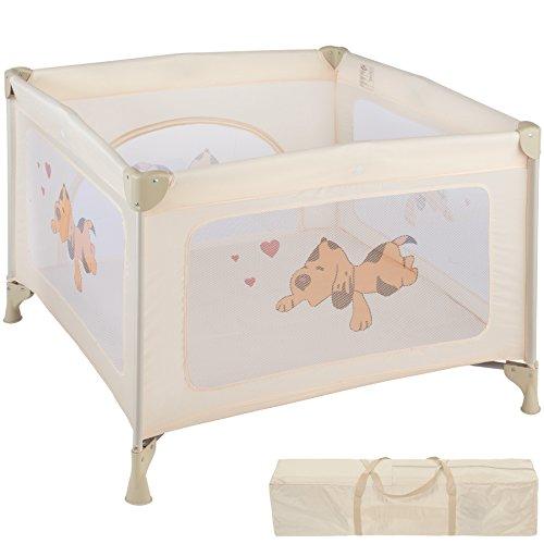 TecTake Box per gioco e nanna lettino da viaggio reticolato campeggio bambini bebé - disponibile in diversi colori - (Beige | No. 402208)