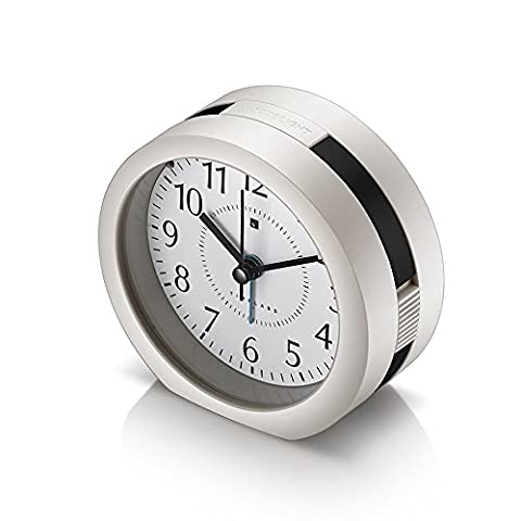 ECVISION Travel Alarm Clock Silent Non-Ticking Sweep Hand Music Alarm Clock,Alarm Clock with Snooze and Night light, simple set and battery operated, Ideal for bedside, office and home (Black Brim)